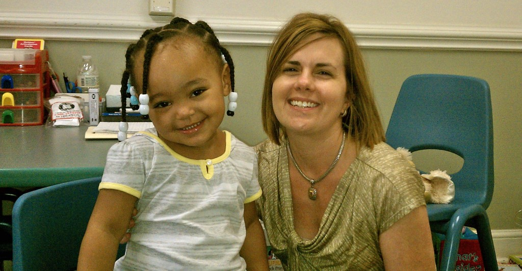 Amy Crenshaw, speech therapist at Center for Pediatric Therapies in South Boston, Virginia with a patient